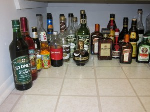 Wines, non-alcoholic mixers, cheaper liqueurs, less-cheap liqueurs