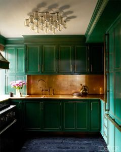 Venus kitchen green cabinets