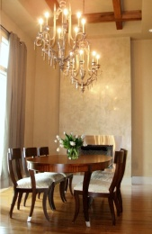 golden lit dining area