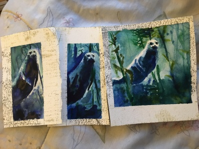 3 watercolor seals